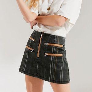 NWT UO BDG Striped Contrast Zipper Mini Skirt S
